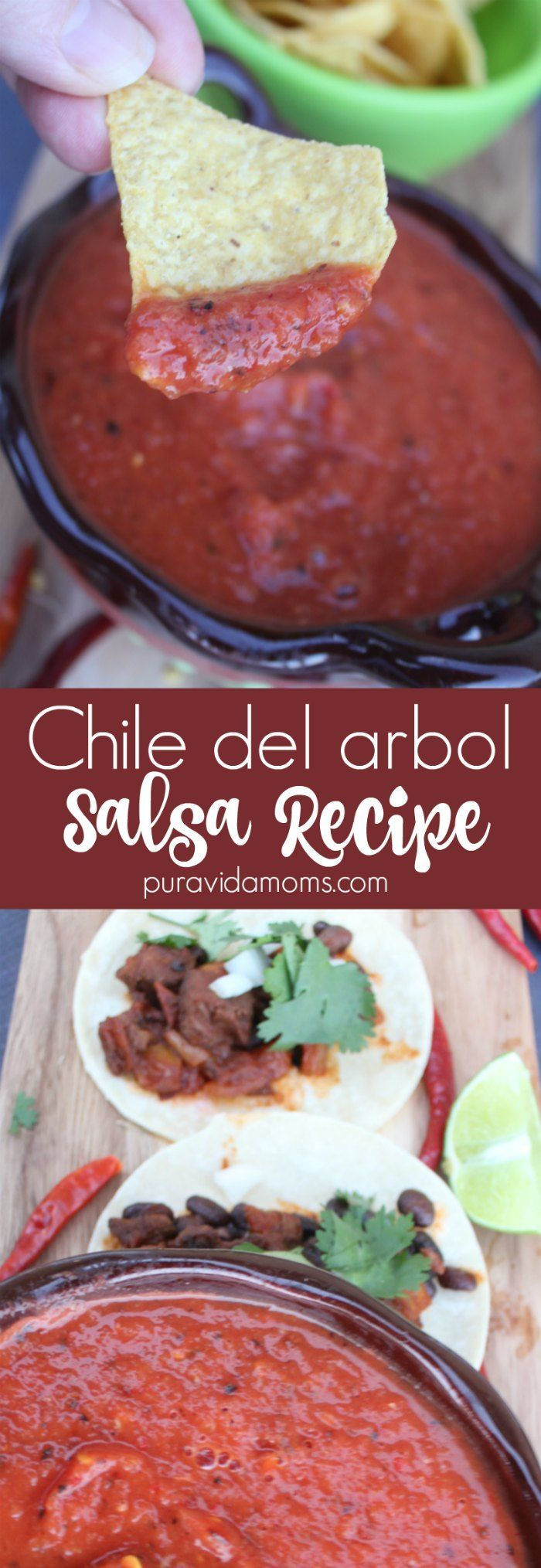 This simple chile del arbol salsa recipe is the perfect with tortilla chips or Mexican tacos. This restaurant quality salsa is ready in 10 minutes. #FronteraExperience #ad