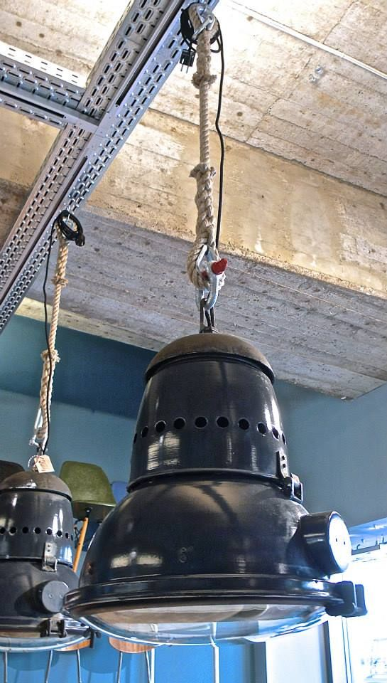 Heavy industrial lamps on manila rope (by func. functional furniture, Hamburg).