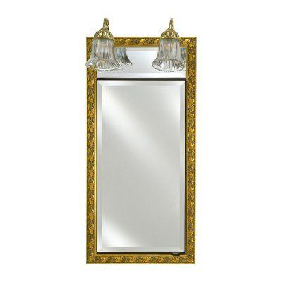 Afina Signature Traditional Lighted Single Door 17W x 34H in. Recessed Medicine Cabinet - SD/LT1734RARLHO BRLEFT HINGE