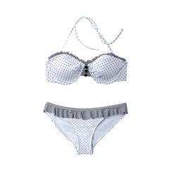 Xhilaration® Juniors 2-Piece Polka Dot Push Up Swimsuit with Ruffle Trim