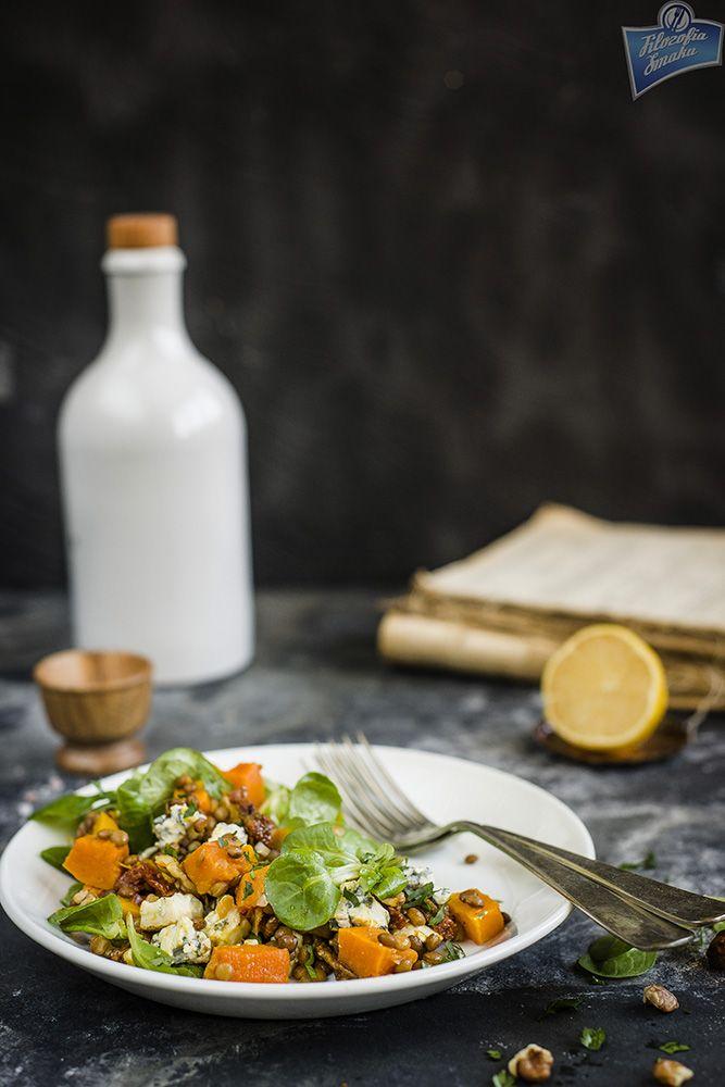 Roasted pumpkin and lentil salad/Sałatka z pieczoną dynią i soczewicą