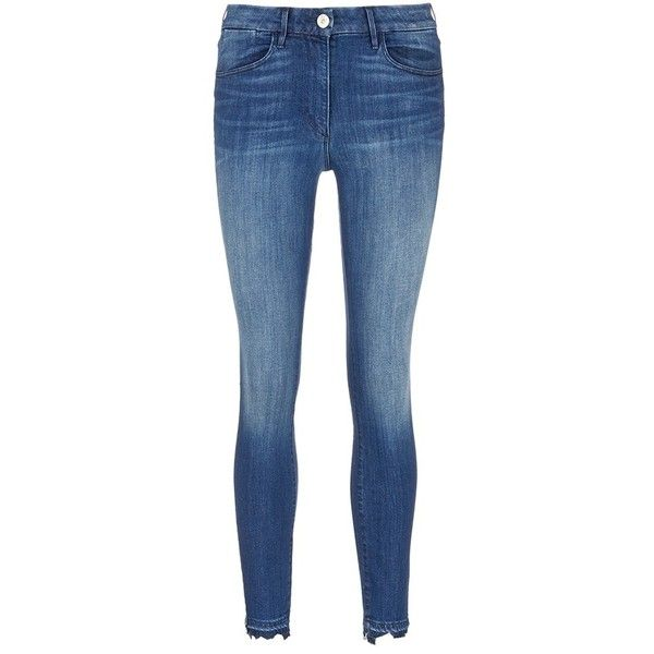 3x1 'W3' frayed cuff cropped skinny jeans (2,975 GTQ) ❤ liked on Polyvore featuring jeans, whiskered jeans, frayed-cuff jeans, cuffed jeans, cropped jeans and skinny fit jeans