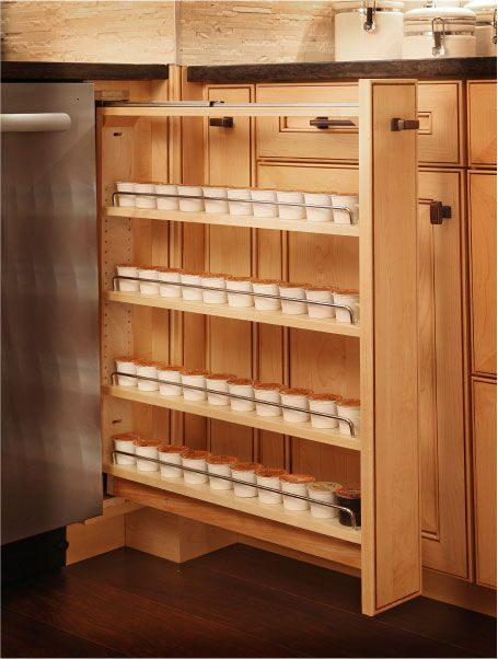 Pull out spice racks. #KitchenDesign