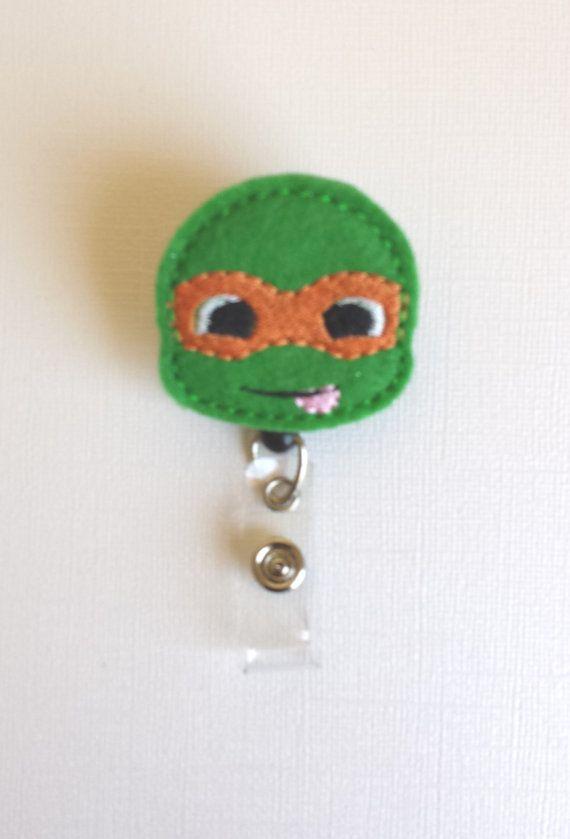 Ninja Turtle Felt Badge Reel  Retractable ID by SimplyReelDesigns, $6.25