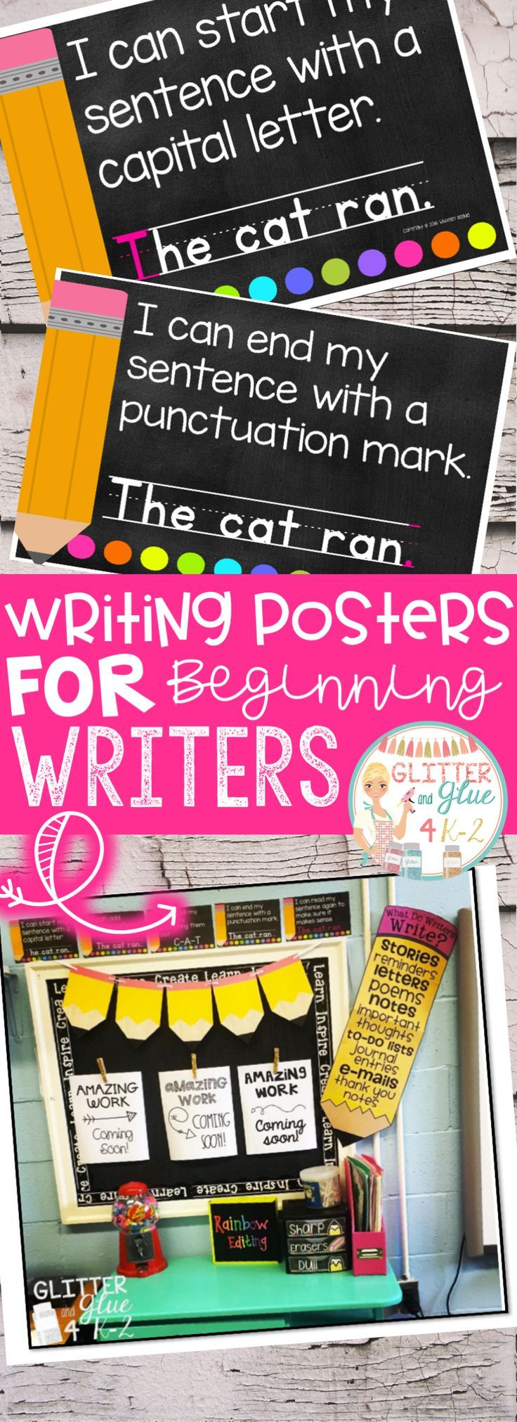 Overview: These posters are perfect to hang in your writing center for your little ones! I would recommend these be used in either a preschool, kindergarten, or first grade classroom! I've included a version with a black background and a printer-friendly version with a white background.