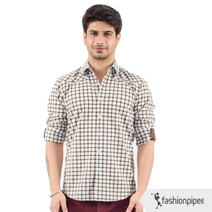 Stylish #checks  Link to buy: http://www.fashionpiper.com/men/western-wear/casual-shirt/grid-graphics-shirt-1181.html