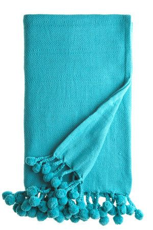 Pom Pom Throw- Turquoise Hatton Home.   $55.00