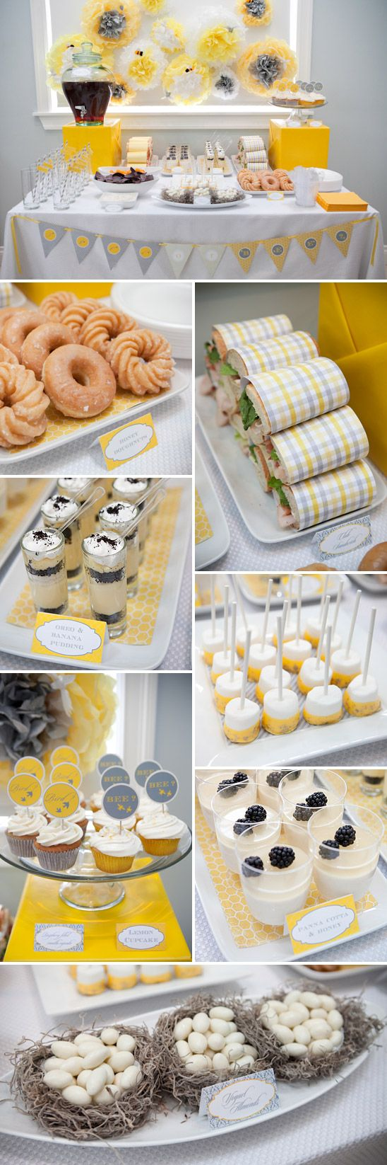 Birds & Bees Themed Gender Reveal Party - On to Baby. Change the colors for any kind of party, but I love the sandwiches wrapped in paper!