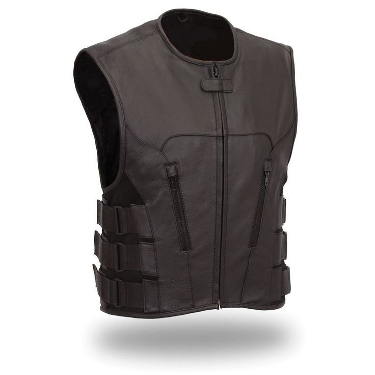 Mans GENUINE COW LEATHER SWAT VEST GAY BLUF BIKER WAISTCOAT S.W.A.T. BLACK #offpat