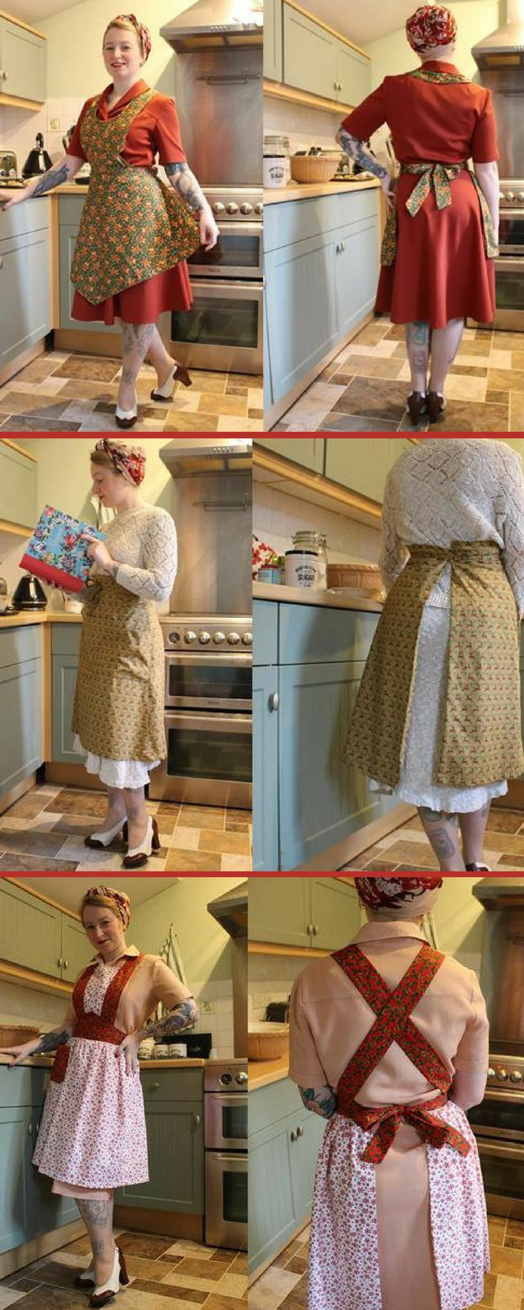 1940s reproduction Christmas aprons. THey're gorgeous. And so are her shoes. Want an apron in every colour! #1940sapron #reinactment1940s #christmasapron #ad #retrostyle #pinnieparade