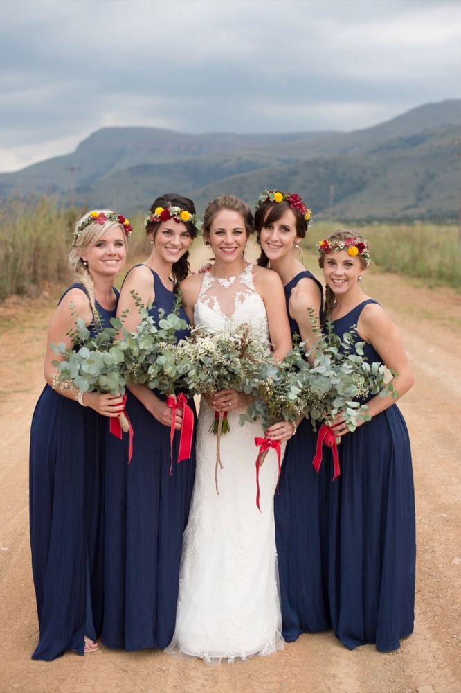 Navy Red Cowshed Wedding