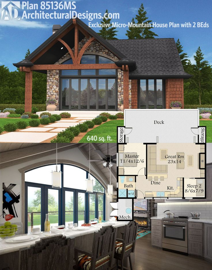 Architectural Designs Exclusive Micro-Mountain House Plan 85136MS gives you 2 beds and 640 square feet of living. And comes in alternate exteriors! Ready when you are. Where do YOU want to build?