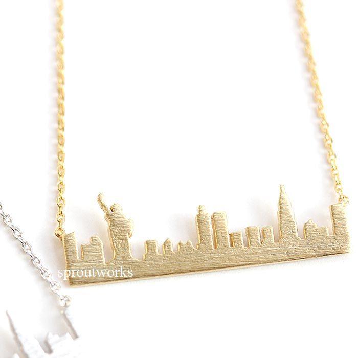 new york  necklace, new york skyline necklace,city necklace, us jewelry, souvenir necklace, skyline necklace, statue of liberty, new york by sproutworks on Etsy