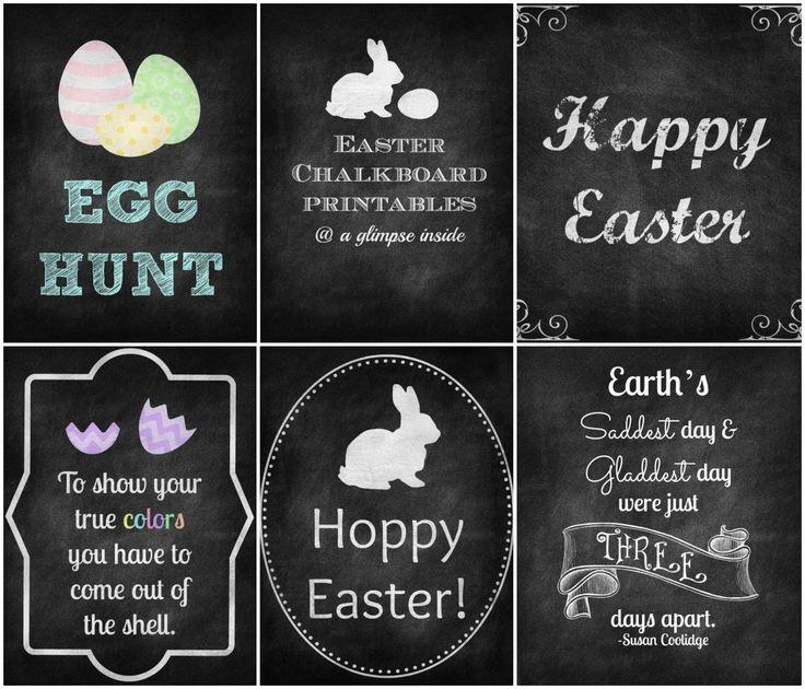 A Glimpse Inside: Easter Chalkboard Printables