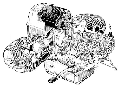Bmw R755 Engine And 4 Speed Gearbox Cutaway