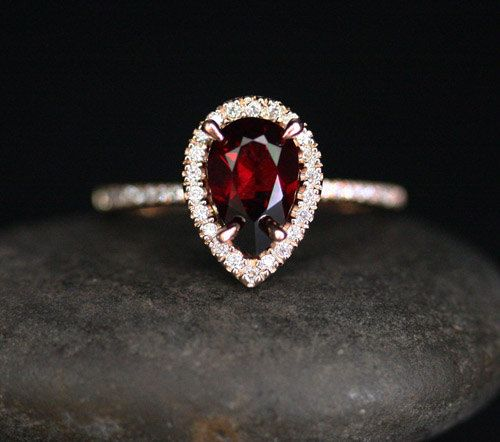 14k Rose Gold 9x6mm Pyrope Garnet Pear and Diamonds Wedding or Engagement Ring (Choose color and size options at checkout)