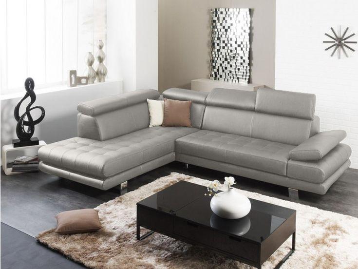 Canape d'angle en cuir EFFLEUREMENT - Gris