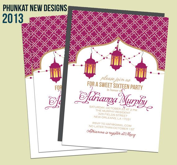 17 Best images about Sweet 15 – Moroccan Party Invitations