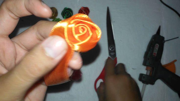 Tutorial / Cara Membuat Mawar Kuncup dari Pita Satin 1 inch Tutorial By ...
