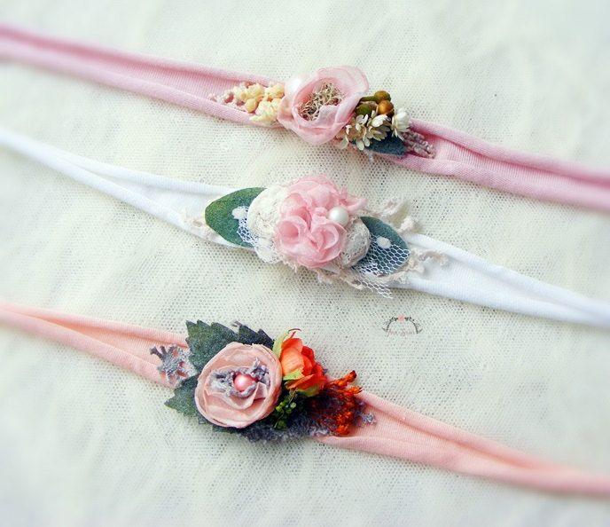 Newborn 3 pieces set, Tieback set, Elastic headband set, Photography set, Photo prop set, Flower headband, by AraSASA on Etsy