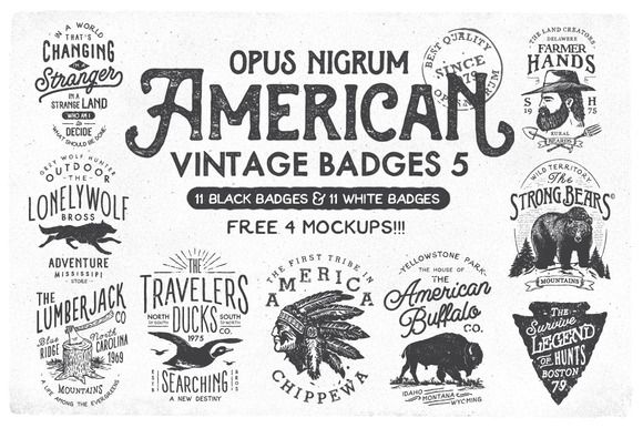 American Vintage Badges 5 by OpusNigrum on Creative Market