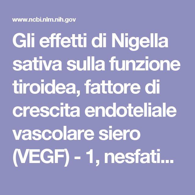 Gli effetti di Nigella sativa sulla funzione tiroidea, fattore di crescita endoteliale vascolare siero (VEGF) - 1, nesfatin-1 e le caratteristiche antropometriche in pazienti con tiroidite di Hashimoto: uno studio randomizzato controllato