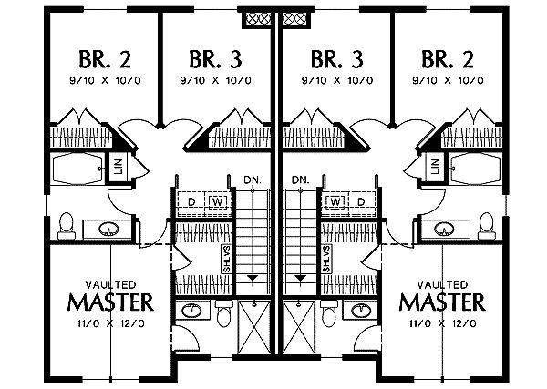 140 best plans rf4 duplex images on pinterest floor for Multi family house plans narrow lot
