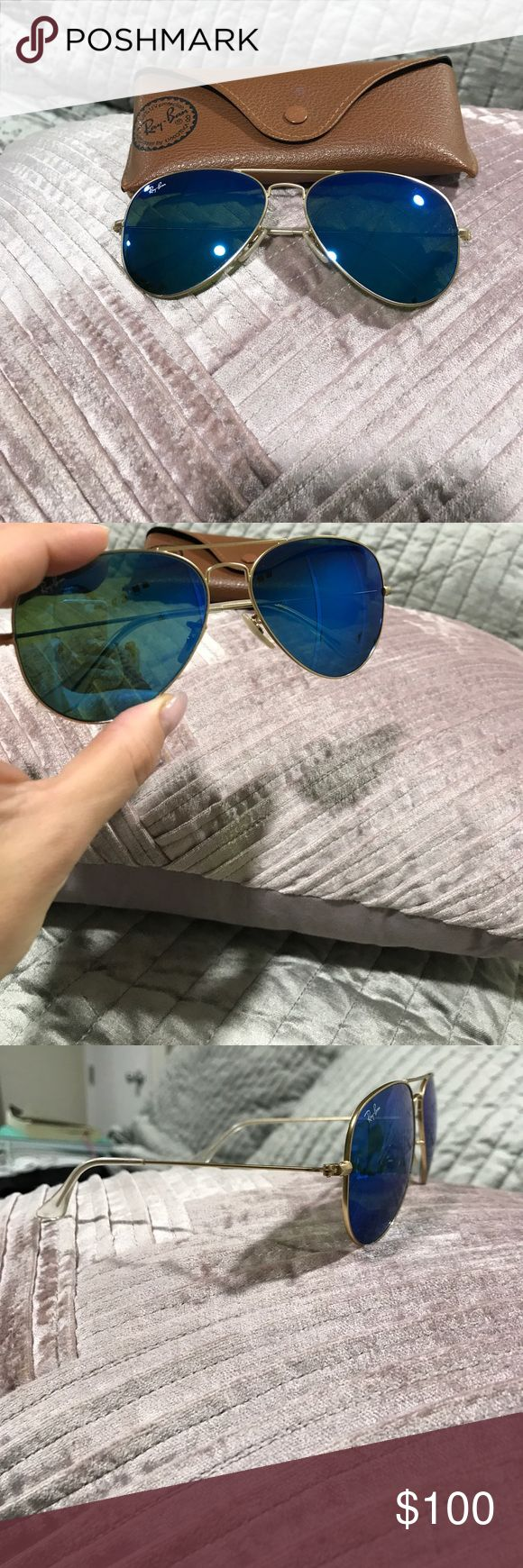 Ray ban aviators Blue mirror aviator Ray Ban sunglasses.  58mm Color: blue & gold. Comes with case. These are in great condition. They are not bent, nor are they scratched. 100% Authentic!! Comes with box, cards, price tag & receipt!!! Ray-Ban Accessories Sunglasses