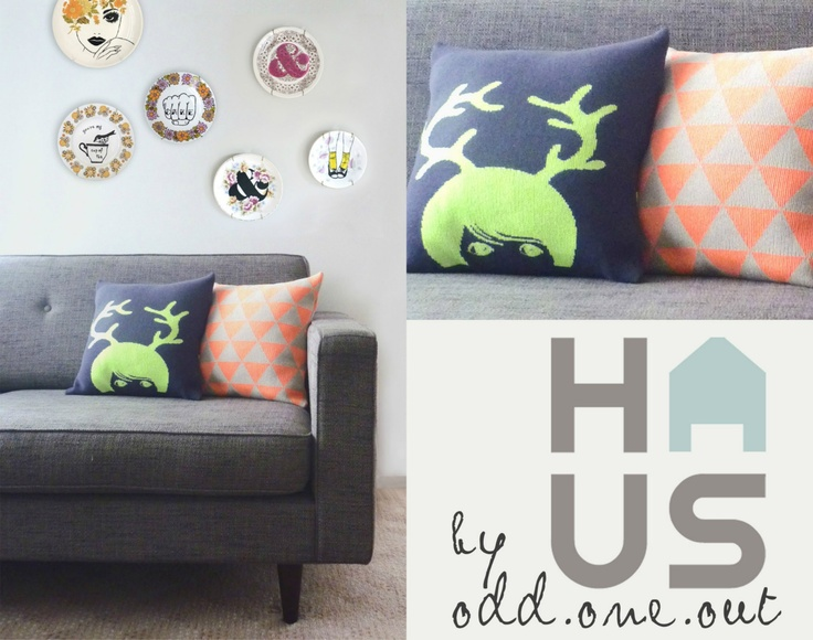 Antler Girl – Neon knitted cushion   Odd one out