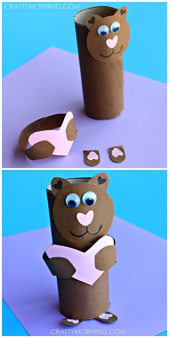 """Toilet paper roll bear - Cute valentines day craft for kids! """"I love you beary much"""" 