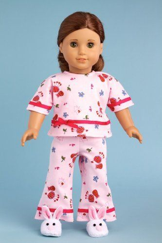 Perfect Sleepover - Pink cozy pajama with white bunny slippers - Clothes for American Girl Dolls Price : $19.97 http://www.dreamworldcollections.com/Perfect-Sleepover-slippers-Clothes-American/dp/B005NXMPWK