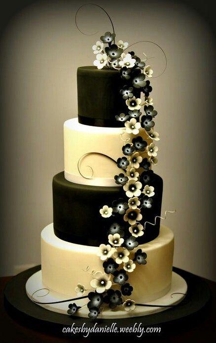 Tarta boda negro y blanco