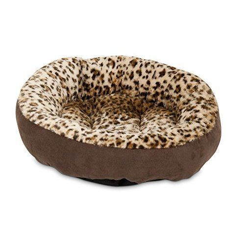 Dog Cat Pet Round Bed Female Soft Warm Bed Leopard Easy Clean Small 18'' NEW #AspenPet
