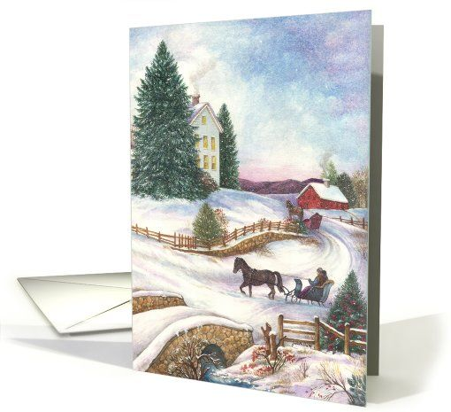 this is my 1850 farm house in Chester, CT, that pine tree must have been there forever...Winter Wonderland Traditional Holiday Landscape  card (282099)