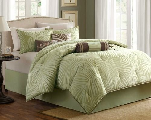For a breezy tropical style to your room, the Bermuda Leaf is the perfect comforter set. With its soft green and ivory palm frond print on a pretty jacquard fabric, you are instantly transported to an island retreat!
