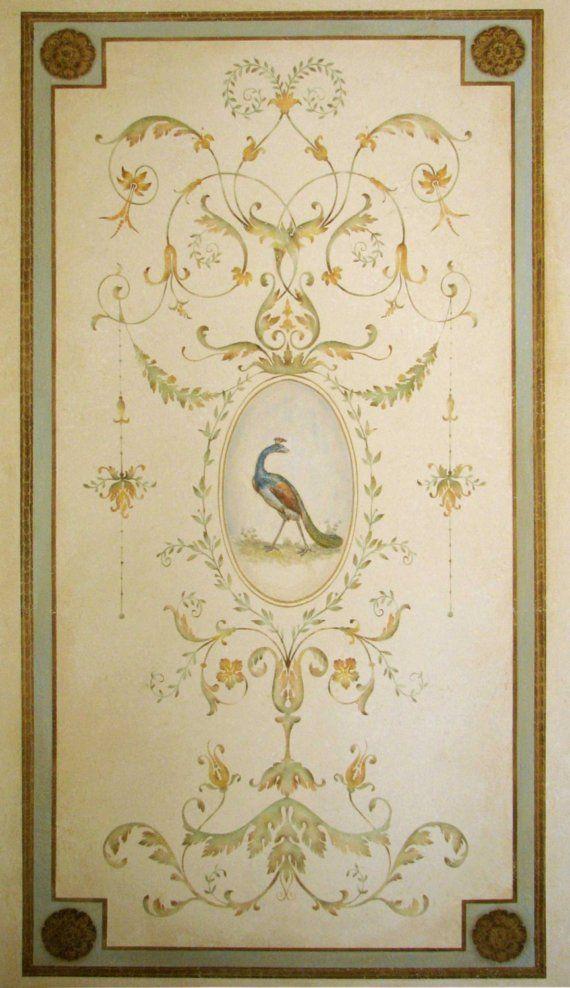 Mur au pochoir Versailles Grand panneau LG - des détails étonnants - élégant décor français