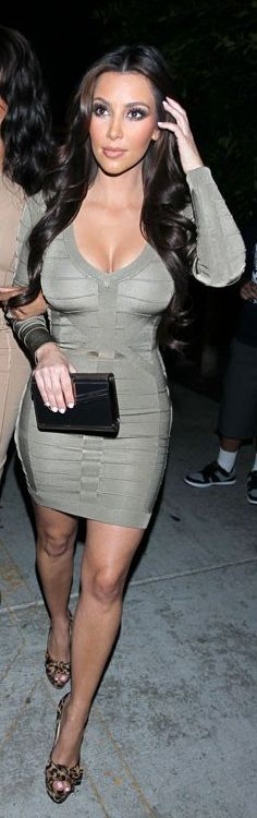 Kim Kardashian:    Dress – Bebe    Shoes – Christian Louboutin
