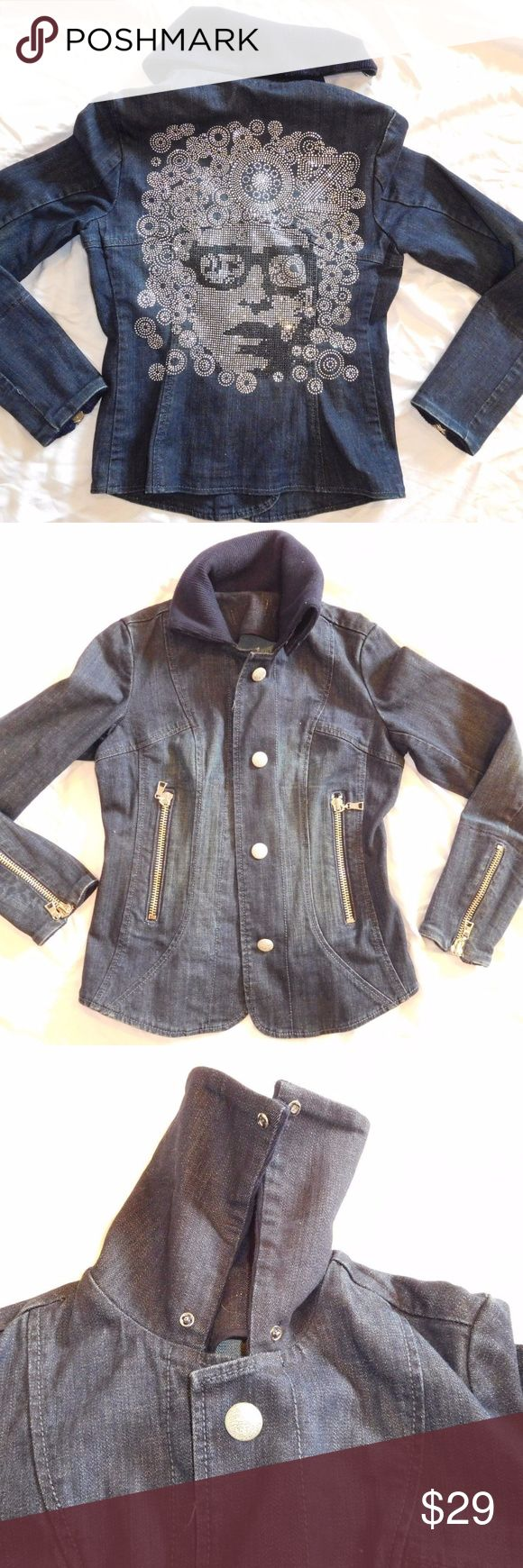 """7 SEVEN Jeans Denim Jacket Rhinestone Bling RARE SEVEN7 JEANS Jacket * Dark Wash Denim - MAKE AN OFFER! Size XS (NO size tag-see measurements) """"OZ"""" Rhinestone Theme on back Wonderful fitted jacket from """"SEVEN"""" Jeans. Dark wash denim,  zippers up the arms and pockets; hidden buttons.  Around neck is thick sweater like foldover material.  Sparkles like no other! Unique and original.  I believe it was from a Sample Sale, so it may be one-of-a-kind!  Light red stain on inside of neck, NOT…"""