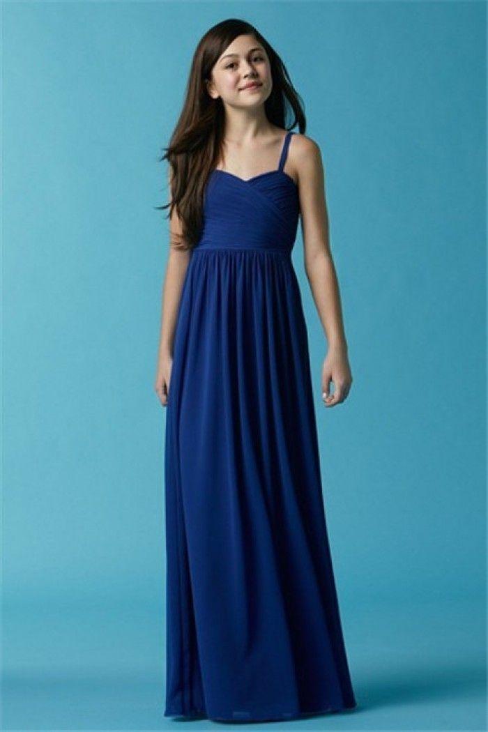 A Line Sweetheart Long Royal Blue Chiffon Junior Bridesmaid Dress With Straps