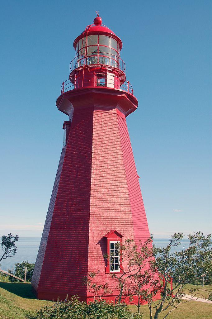 La Martre lighthouse along the north shore of Haut Gaspesie, La Martre, Quebec, Canada