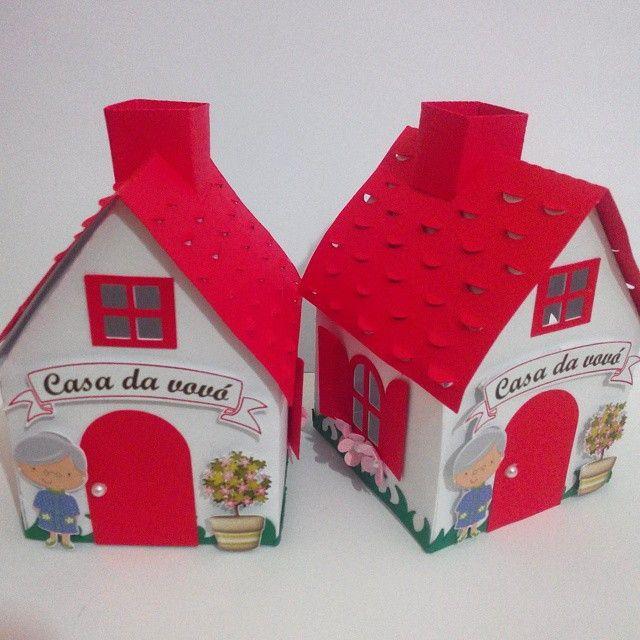 Caixa casinha da vovó - chapeuzinho vermelho.