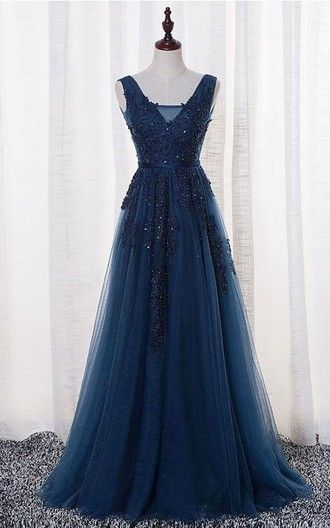 Elegant Tulle Prom Dress, Lace Prom Dress, Navy
