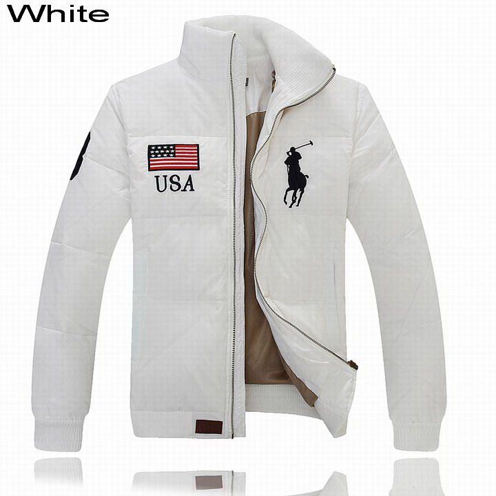 Ralph Lauren Men Full-Zip USA Flag Big Pony Quilted Down Jacket White