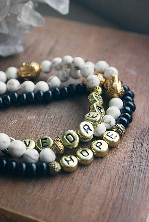 Budskapsarmband – Dream, Hope, Love | Foxboheme
