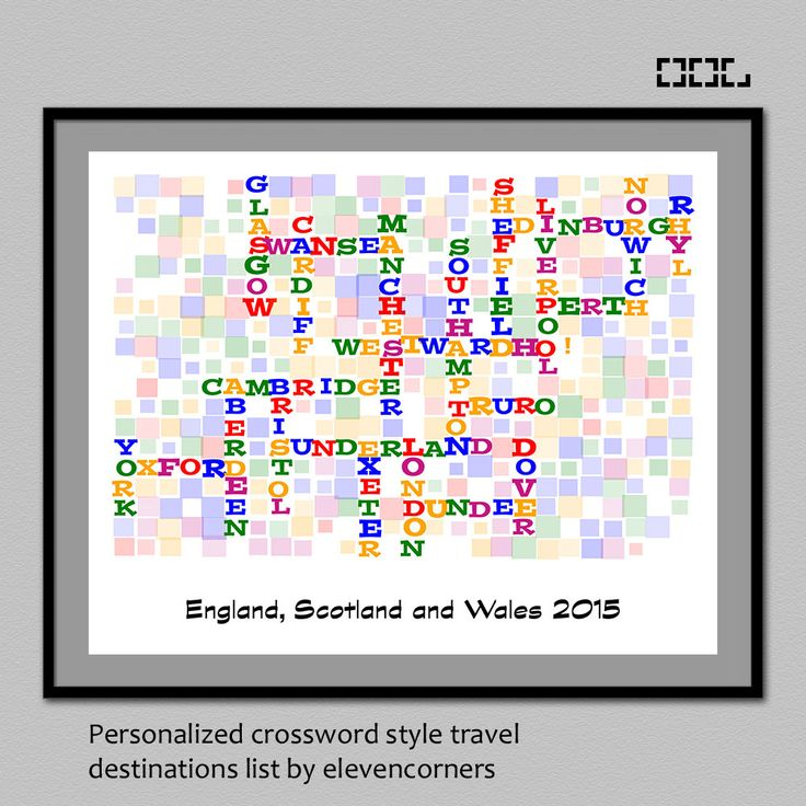 Personalized travel list crossword style print | wall decor | customized print | custom travel print | bucket list wall art poster | gift by elevencorners on Etsy #elevencorners #crossword #travel