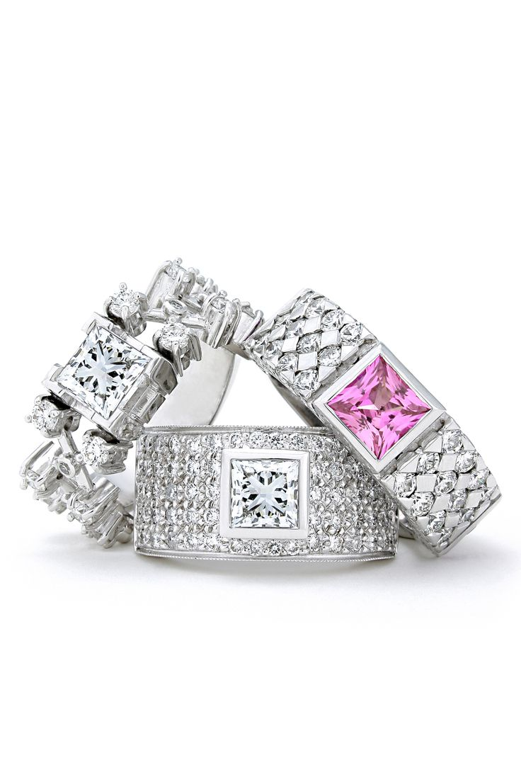 Princess cuts in pink and white will every women's heart delight. www.jennaclifford.com