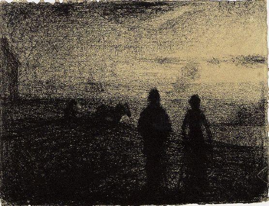 Georges Seurat (1859-1891)      The Plowing, 1882-1883      Conté crayon - 24.5 x 32 cm      Paris, Musée d'Orsay
