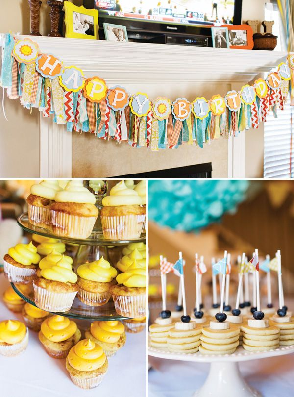 Good Morning Sunshine Breakfast First Birthday Party...Invitations by Confetti Colored Day Designs!! Such a great way to ring in ONE YEAR!!