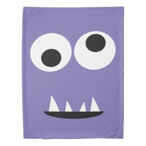 Silly Two Eyed Monster Face with Teeth Kids Purple Duvet Cover #cute #doona #kids #kidsroom