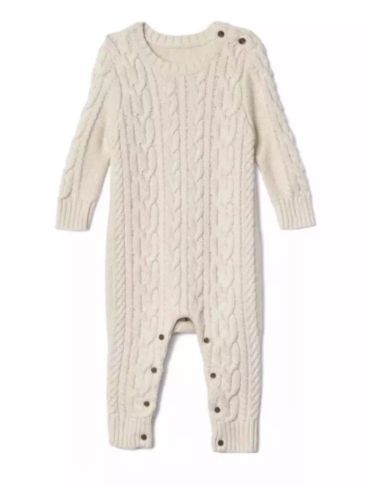 ccefd4e3a baby gap 12-18 months Cable Knit Ivory Sweater Knit Romper Unisex Boy Girl  #fashion #clothing #shoes #accessories #babytoddlerclothing ...